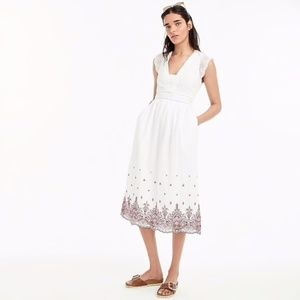 J. Crew Embroidered Flutter Sleeve Midi Dress NWT